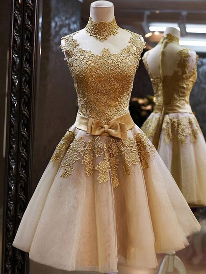High Neck Tulle Appliques Lace Inexpensive Knee-length Prom Dresses - dressesofgirl.com