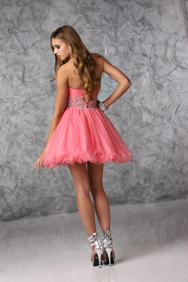 Cheap Sweetheart Appliques Waist Pink Organza Homecoming Dresses - Happidress
