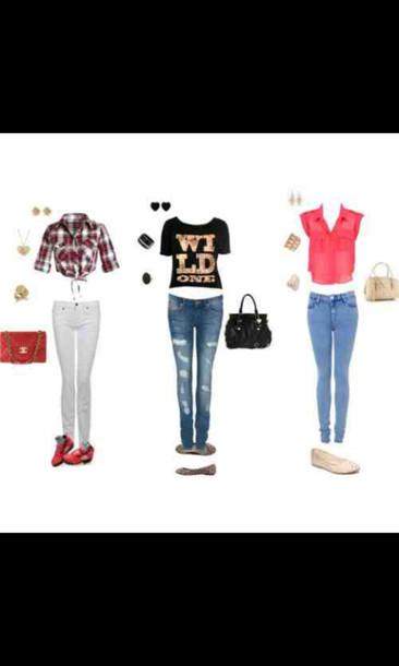 pants round sunglasses t-shirt purse shoes jeans shirt