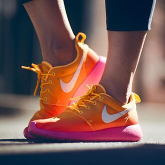 shoes nike orange nike roshe run fashion sportswear brand white woman shoes man shoes rose yellow sneakers