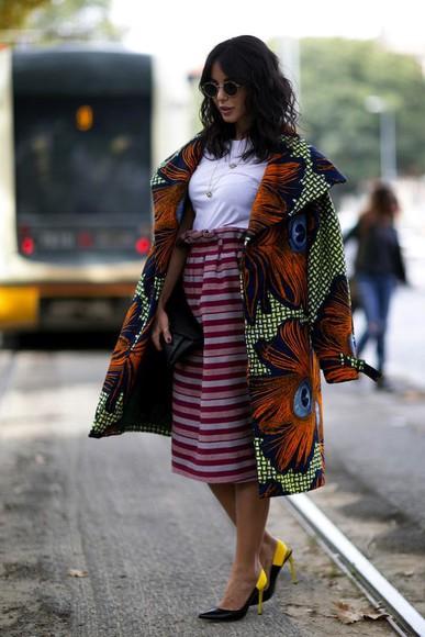 streetstyle fashion week 2014 skirt coat