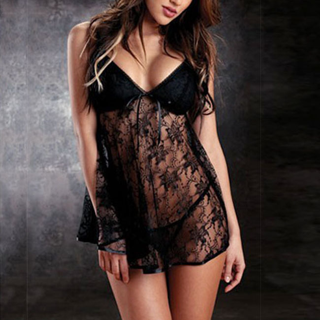 9511a20126 Aliexpress.com   Buy 2015 Hot Sexy Babydoll Lingerie Lace Sleepwear Sets  Strappy Mini Dress Nightwear Underwear Black Blue Rose Nightdress from  Reliable ...