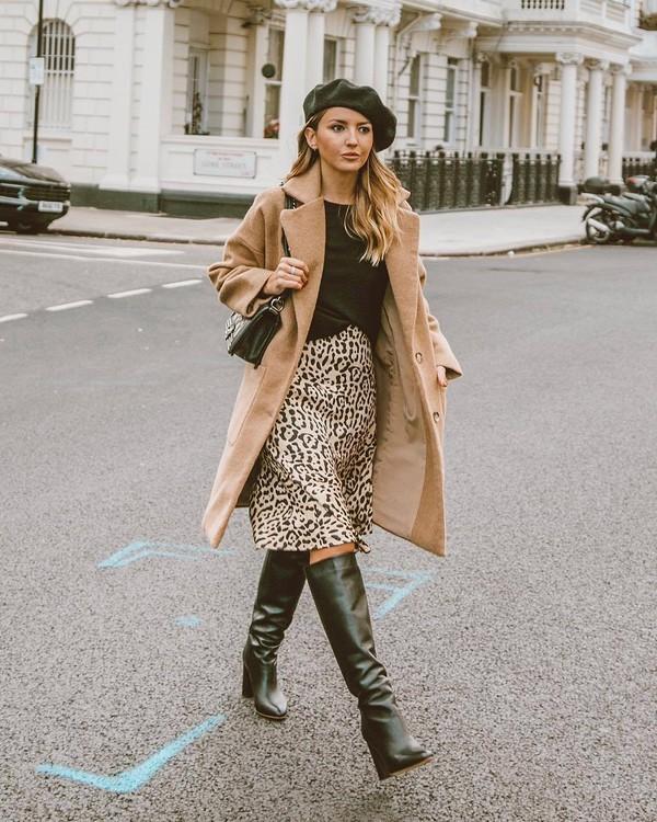 coat long coat animal print skirt knee high boots beret black bag black blouse