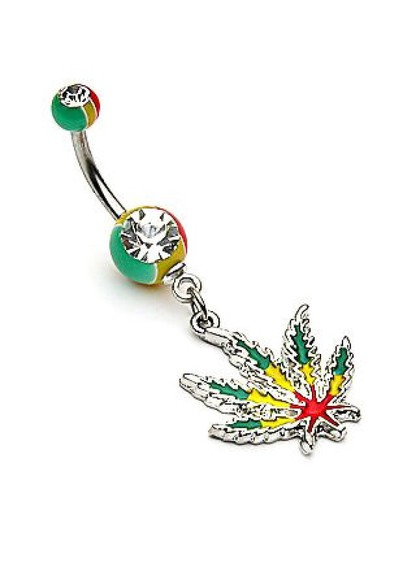 rasta jewels marajuana leaf Belly Button Jewelry belly button dangle belly button jewelry weed leaf