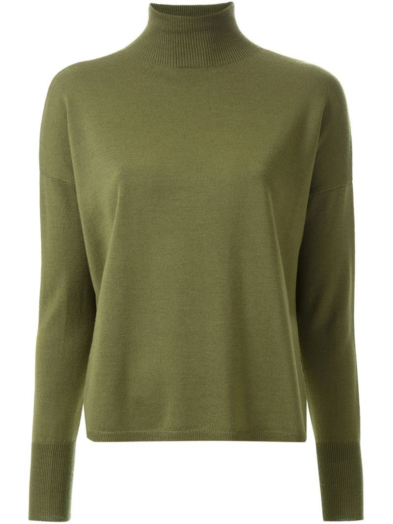 Scanlan Theodore crepe knit turtle neck rib sweater, Women's, Size ...