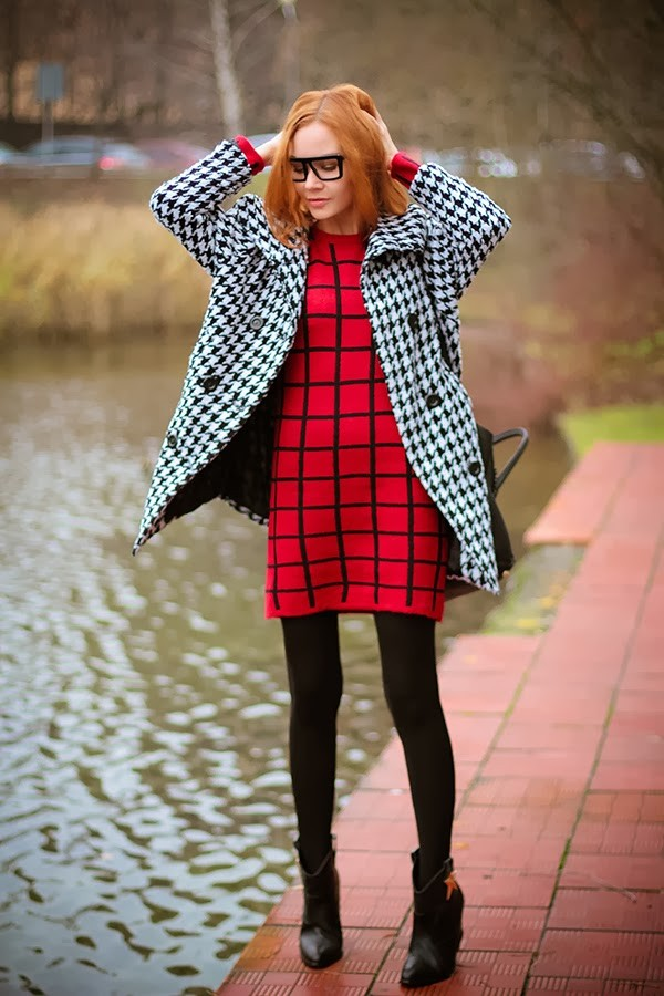 dress coat square pants boots shoes stars leggings red glasses fall outfits fashion stylish