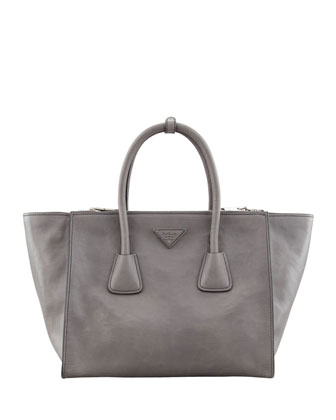 Prada Glace Calf Large Twin Pocket Tote Bag, Gray - Neiman Marcus