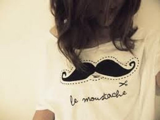 shirt black white cute moustache funny