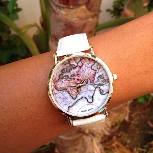 white cute jewels watch map watch map print leatherette