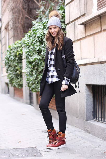 lady addict blogger flannel shirt pom pom beanie high top sneakers black coat hat shirt coat shoes
