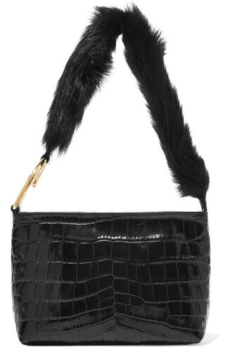 fur faux fur bag shoulder bag leather black