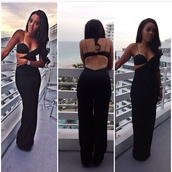jumpsuit,show off,bra,cut-out dress,cut-out,black jumpsuit,black,Angela Simmons,hot,dress,bralette,sexy classy jumpsuit,www.ebonylace.net,prom