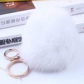 jewels,white,keychain,fur,rabbit fur,lock and key ring,rabbit fur keychain,fur keychain