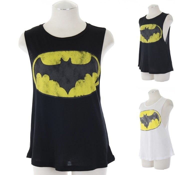Ebclo Batman Motif Graphic Muscle Tee Tank Top Sleeveless Black White New | eBay