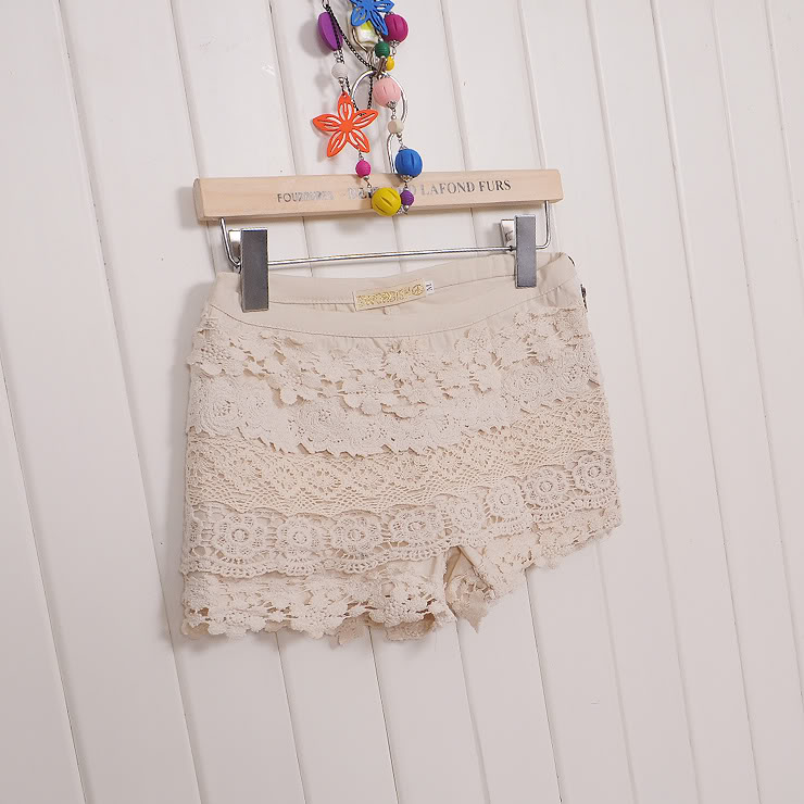 AB025 girl lace hot pant short beige size L approx uk size 8 | eBay