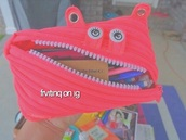 home accessory,monster,pencil case,neon,zip,school supplies