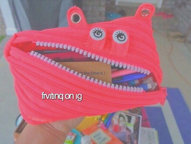 home accessory monster pencil case neon zip school supplies