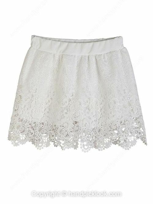 White Elastic Waist Hollow Shorts - HandpickLook.com