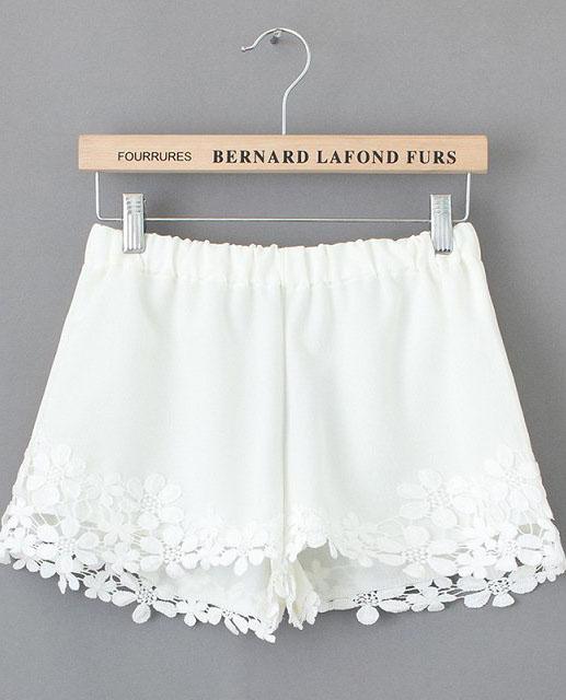 Shorts mit floraler Häkelspitze, weiß-Sheinside