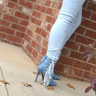 shoes blue denim fringes boots booties ankle boots luichiny