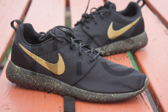 pwebmx Roshe One Run Black Gold Splatter Speckled Custom Women & Men