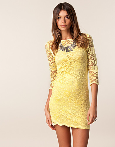 Neck Lace Dress - John Zack - Yellow - Party dresses - Clothing ...
