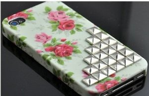 Amazon.com: studded personalized flower rose studded iphone 4 cover, antique brass studs iphone 4 case, iphone 4s case, hard iphone case cover: cell phones & accessories