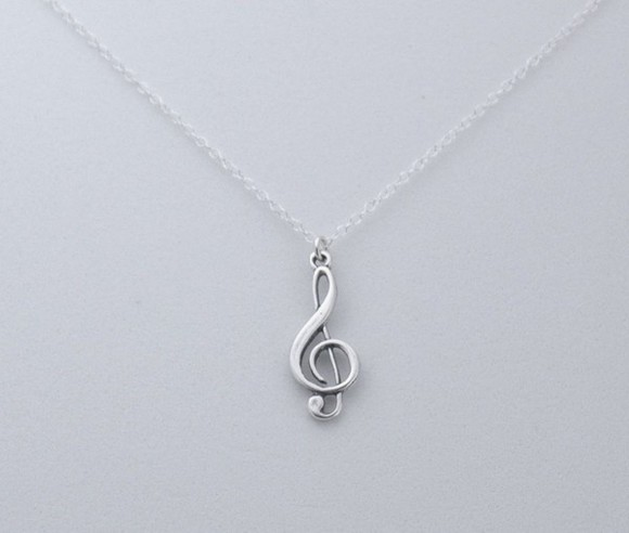 sterling silver jewels music necklace treble clef