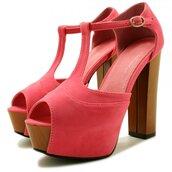 shoes,tbar,wooden platforms,wooden wedges,platform shoes,coral shoes