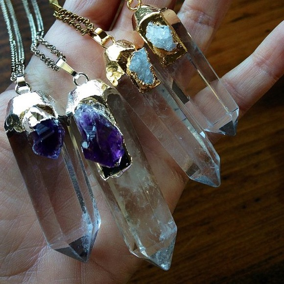 jewels quartz necklace gold purple quartz silver statement necklace