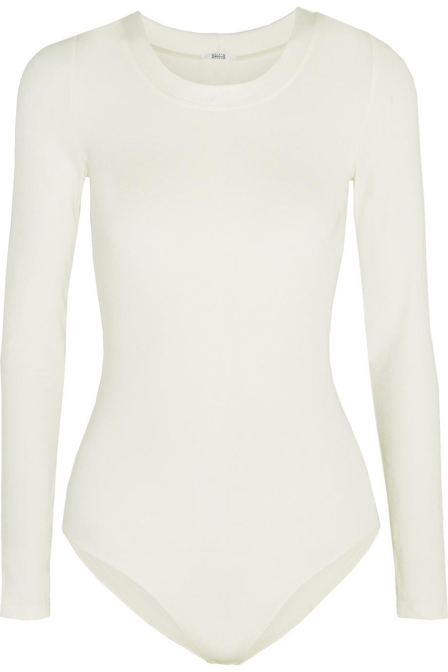 Wolford Berlin Stretch-Jersey Bodysuit in ecru