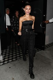 top,madison beer,pants,all black everything,strapless,celebrity
