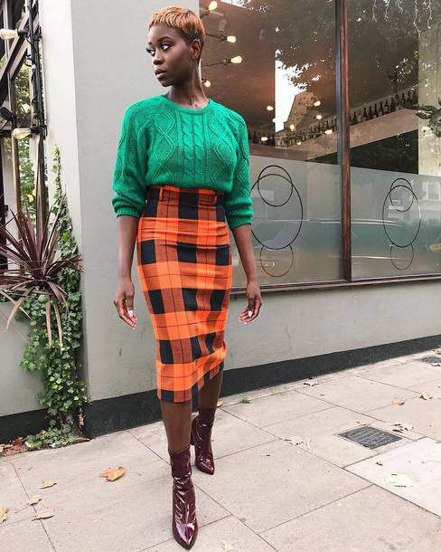 sweater knitted sweater knitwear midi skirt plaid skirt skirt ankle boots tights