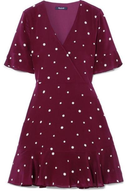 Madewell dress mini dress mini silk burgundy