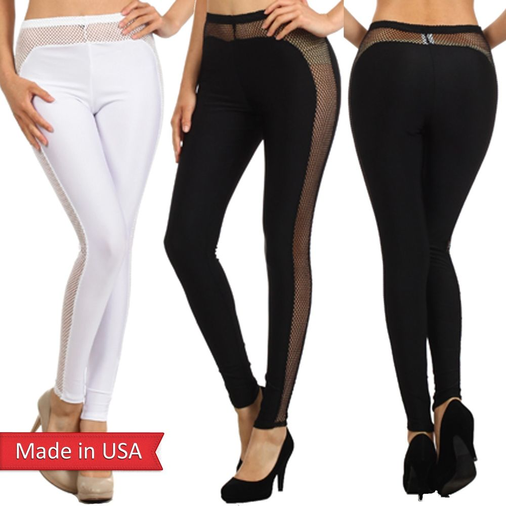 High Waist Duo Fabric Mesh Fishnet Detail Black Sexy Leggings Tights Pants USA