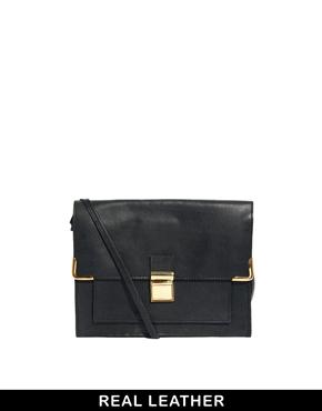 ASOS | ASOS Leather Vintage Style Lock Cross Body Bag at ASOS