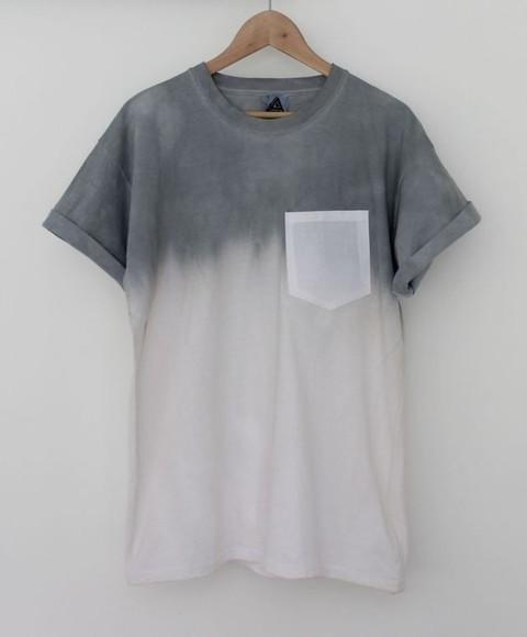 grey dipdye t-shirt designer t-shirt pocket hipster dip dye menswear unisex girls white shirt t-shirt faded grey gray t-shirts pocket t shirt pocket tee ombré skater
