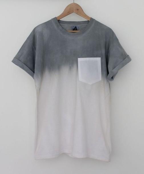 T shirt hipster ombre menswear unisex grey white for Mens dip dye shirt