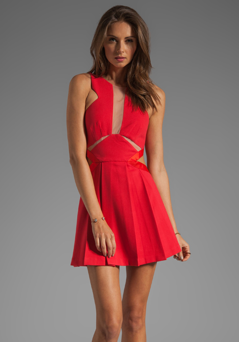 Three floor look see dress in poppy at revolve clothing