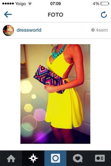 dress open back bag little black dress open back dresses short dress yellow dress