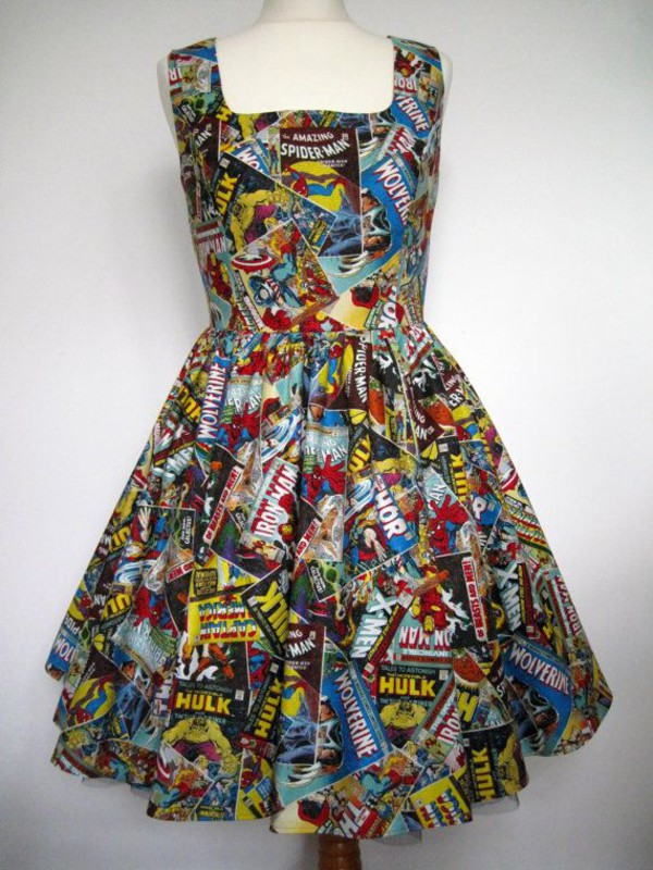 marvel comics spiderman captain america colorful dress
