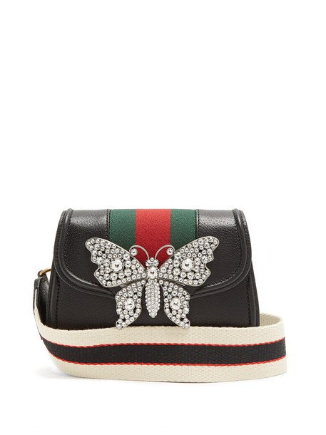 gucci cross bag leather black