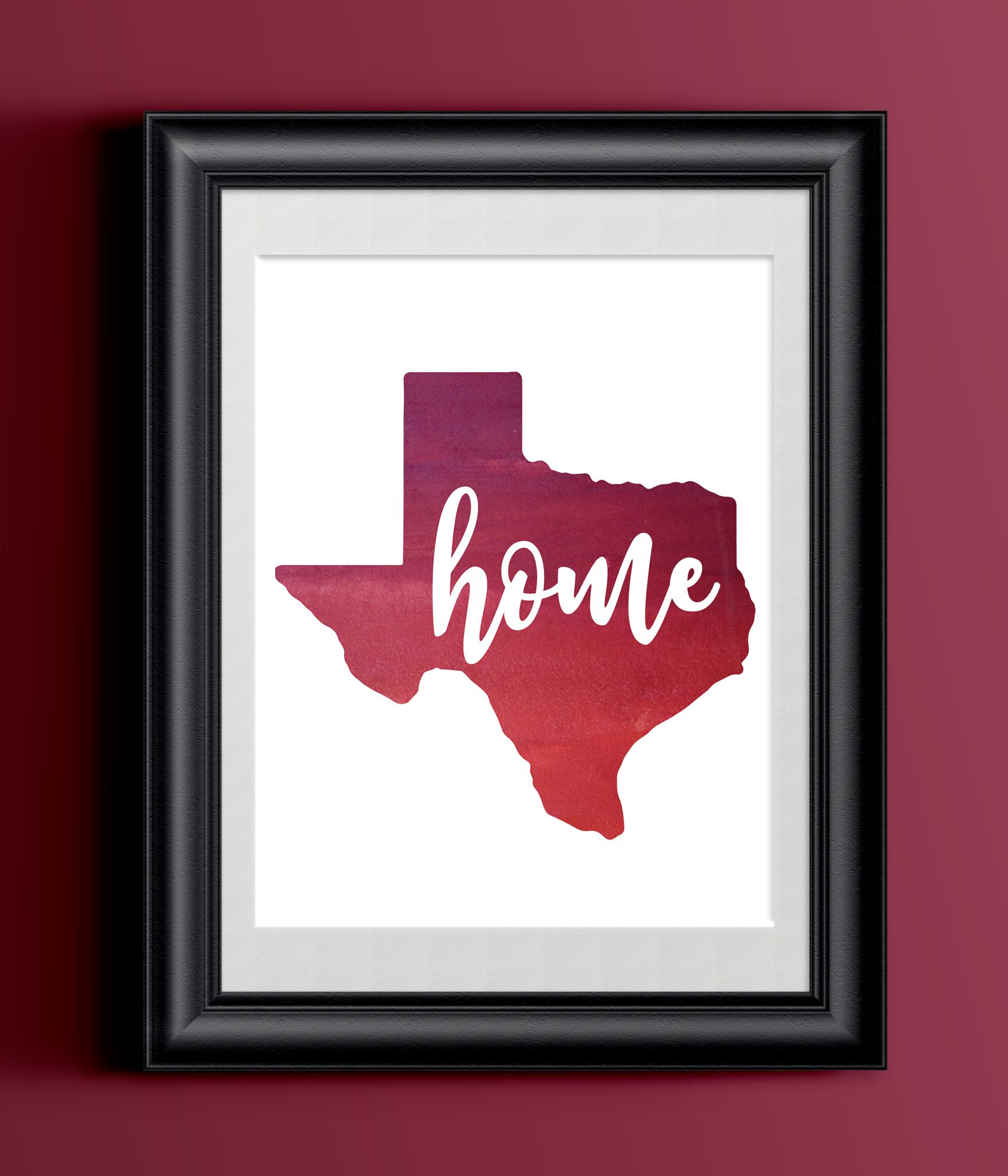 Printable Texas Watercolor Home Print   State Home Sign   Wall Decor
