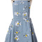 Light blue daisy floral print denim dungaree dress - sheinside.com