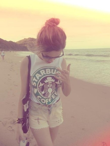 starbucks yellow shorts yellow beach muscle tee graphic sunglasses studded shorts tank top summer top coffee we heart it muscle tank tumblr all cute outfits shirt top green white t-shirt weheartit tumblr clothes starbucks tops adorable