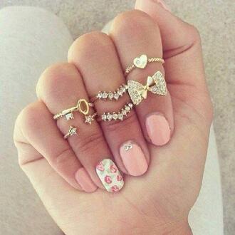 jewels gold ring gold mid finger rings bows nail polish