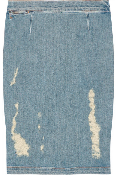 Frame Denim | Le High distressed stretch-denim pencil skirt | NET-A-PORTER.COM