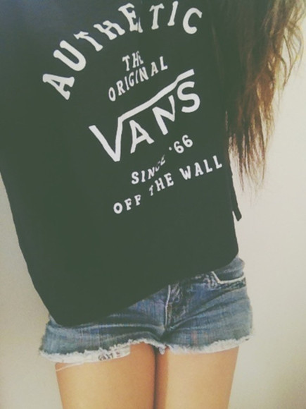 vans authentic black shirt sweater vans vans off the wall black and white hoodie t-shirt authentic loosy tshirt tshirt clothes girls shorts black and white brand white originals vans originals the original since '66 blouse
