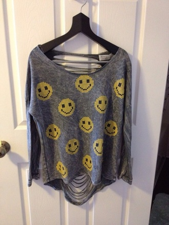 sweater smiley aria montgomery emoji shirt skirt