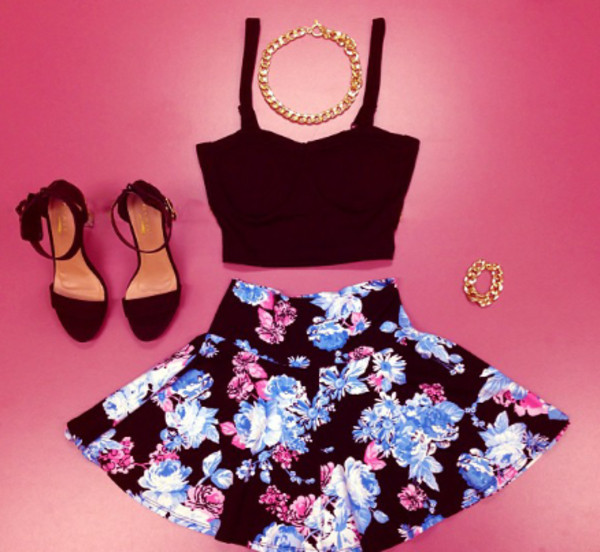 skirt floral blue skirt girly jewels shoes blouse top crop tops skater skirt floral skirt floral skater skirt